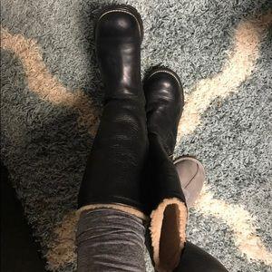 Beautiful tall black leather UGGs